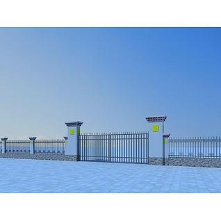 藏式大门和围墙3d模型