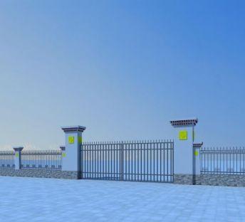 藏式大门和围墙