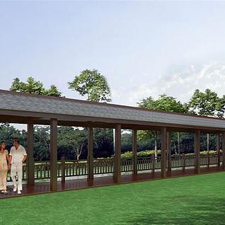 河边长廊亭子3d模型