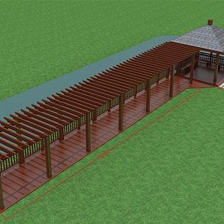 河边廊架亭子3d模型