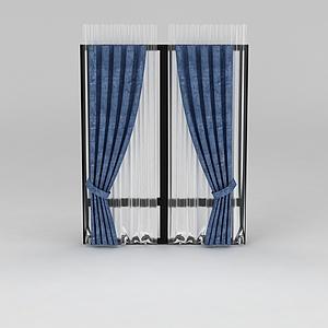 蓝色窗帘模型