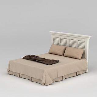 白色简欧床3d模型