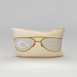 印花眼鏡抱枕模型3d模型