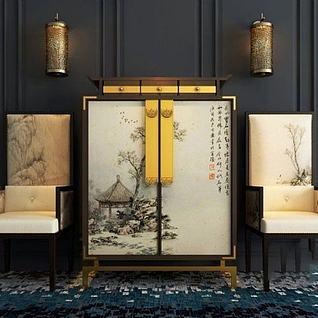 中式古典椅子边柜组合3d模型