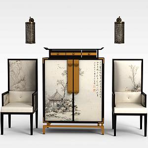 中式古典椅子邊柜組合模型