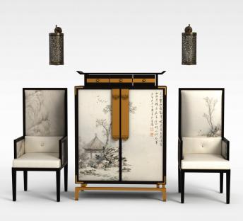 中式古典椅子边柜组合