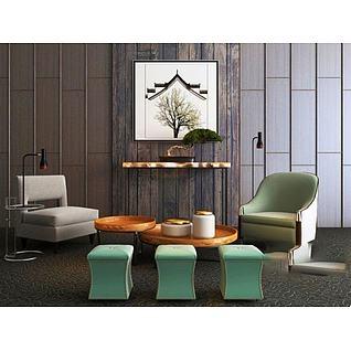 新中式单人沙发茶几组合3d模型