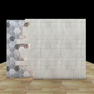 现代北欧休闲背景墙3d模型