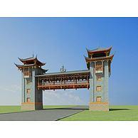 彝族景区门楼3D模型3d模型