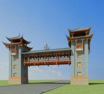 彝族景区门楼