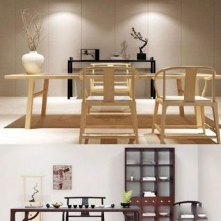 新中式原木桌椅组合3d模型