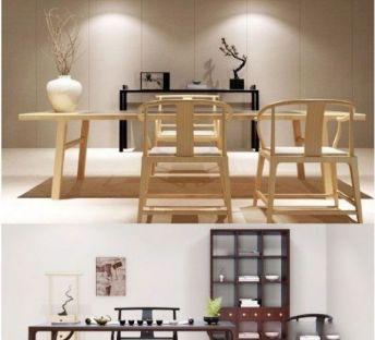 新中式原木桌椅组合