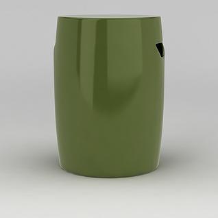 绿色桶凳3d模型