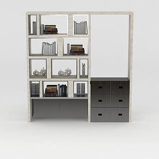 书房陈列架3d模型