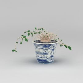 青花瓷<font class='myIsRed'>花盆</font>绿植3d模型