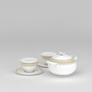 高档茶具3d模型