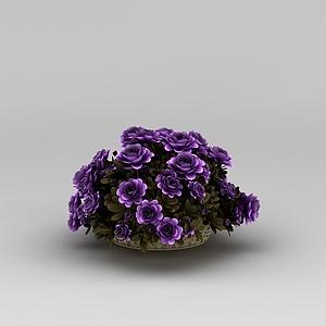 3d紫色花卉<font class='myIsRed'>花篮</font>模型