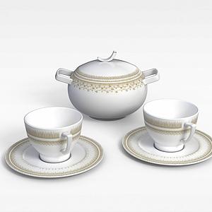 高档茶具模型