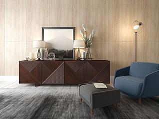 休闲沙发柜子组合3d模型