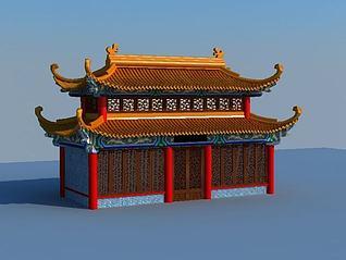 四角飞檐古建筑3d模型