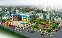 幼儿园景观鸟瞰3d模型