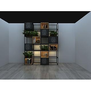 格子花架植物盆栽3d模型