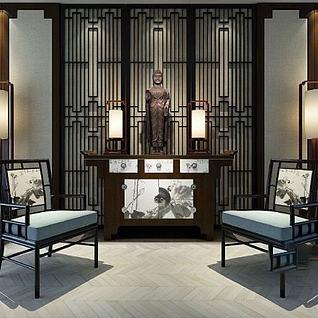 新中式玄关案台椅子组合3d模型