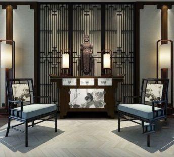 新中式玄关案台椅子组合