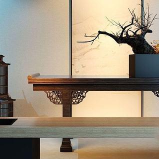 中式案几干枝盆栽组合3d模型