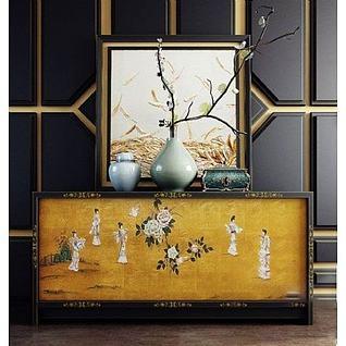 中式装饰柜摆件组合3d模型