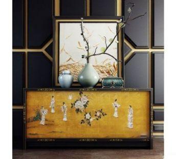 中式装饰柜摆件组合