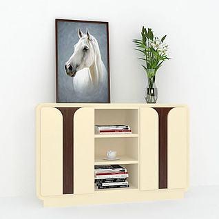 客厅边柜挂画组合3d模型