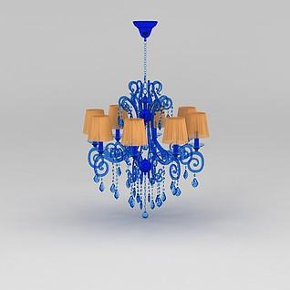 蓝色水晶吊灯3d模型