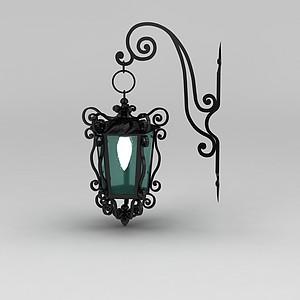 歐式室外鐵藝雕花壁燈模型3d模型