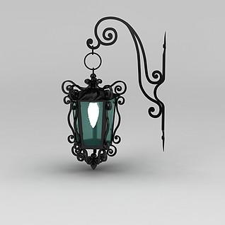 欧式室外铁艺雕花壁灯3d模型
