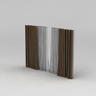 落地窗窗帘3d模型