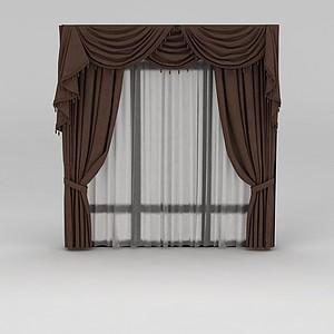棕色窗幔窗帘模型
