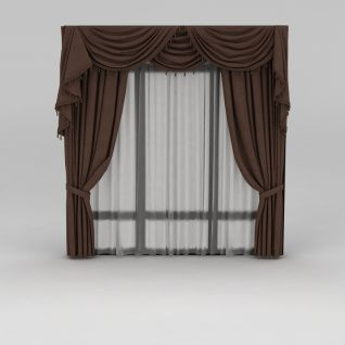棕色窗幔窗帘3d模型