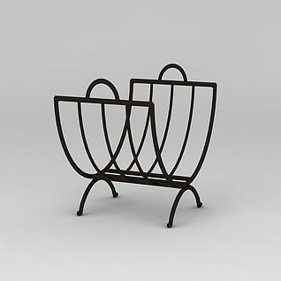 铁艺曲形置物架3d模型