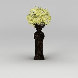 黄花花坛3d模型