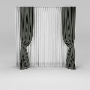落地窗帘模型