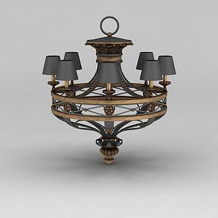 美式复古吊灯3d模型