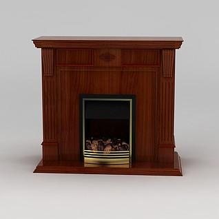 美式壁炉3d模型