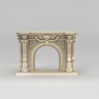 欧式壁炉3d模型3d模型