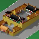 古庙建筑模型