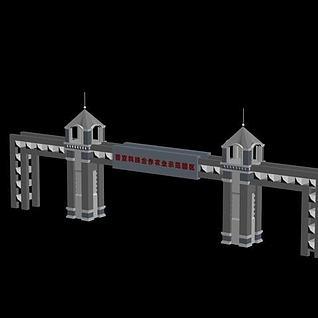 现代门楼3d模型
