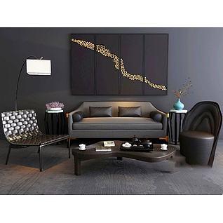 中式沙发茶几组合3d模型