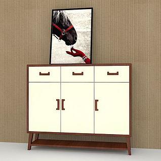 入门鞋柜3d模型