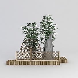 园林<font class='myIsRed'>假山</font>筒车小品3d模型