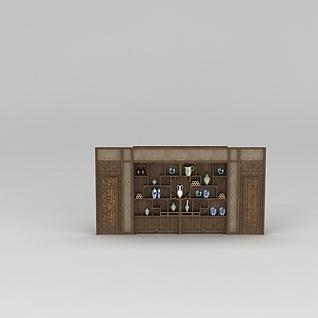 实木博古架3d模型